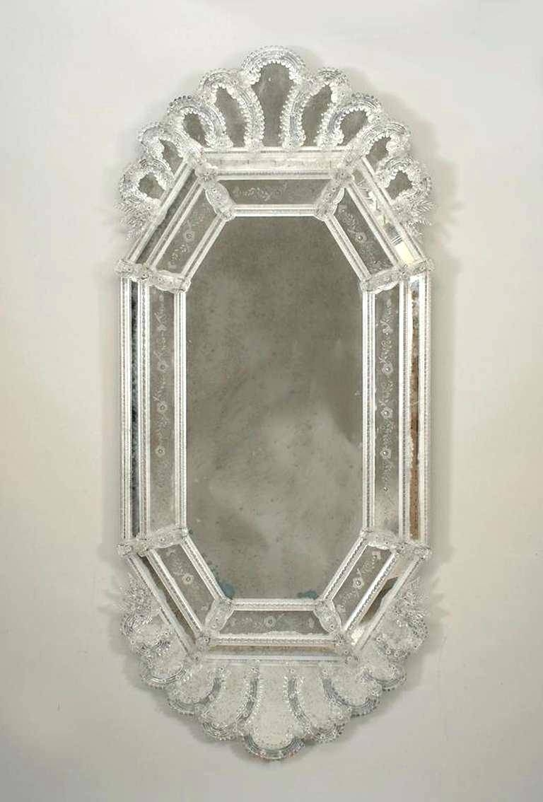 Venetian Glass Mirror With Floral And Leaf Motif Wall Etched with regard to Venetian Heart Mirrors (Image 24 of 25)