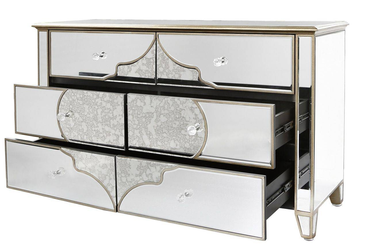 Venetian Mirrored Chest Of 6 Drawers With Gold Pattern pertaining to Venetian Mirrored Sideboards (Image 25 of 30)