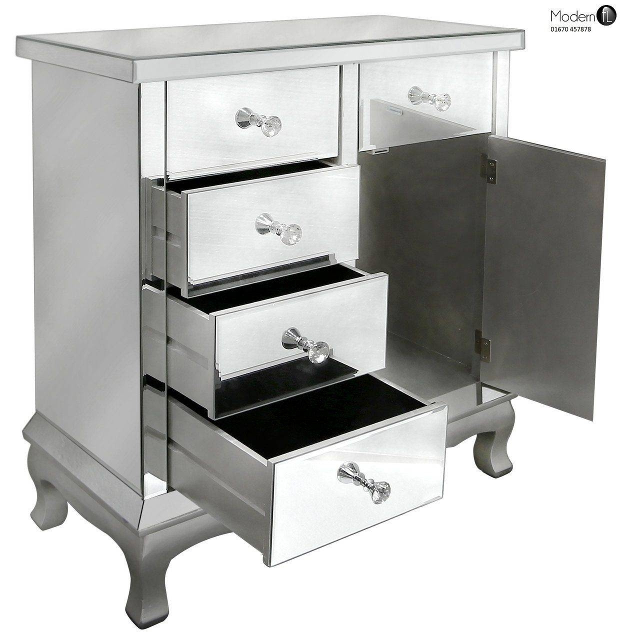 Venetian Mirrored Sideboard With 4 Drawers And 1 Door pertaining to Venetian Mirrored Sideboards (Image 29 of 30)