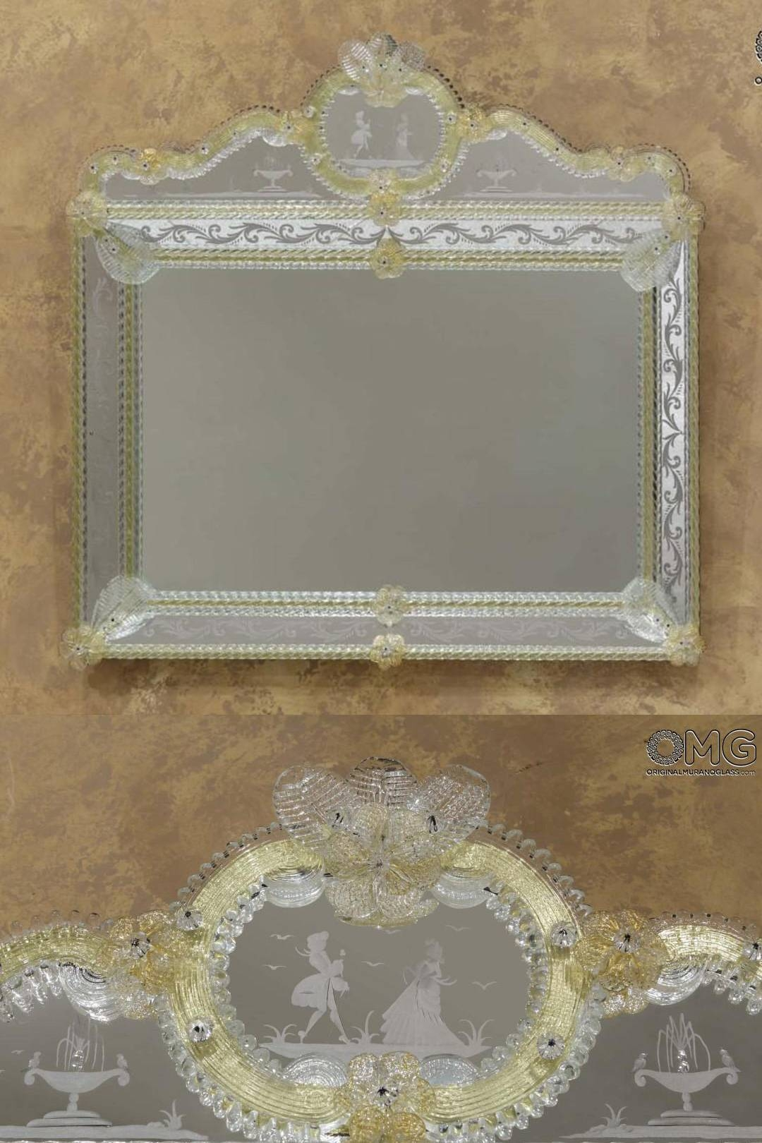 Venetian Mirrors - Engraved And With Murano Glass : Lovers - Wall regarding Gold Venetian Mirrors (Image 22 of 25)