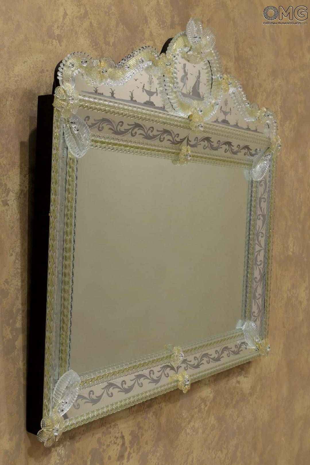 Venetian Mirrors - Engraved And With Murano Glass : Lovers - Wall within Gold Venetian Mirrors (Image 23 of 25)