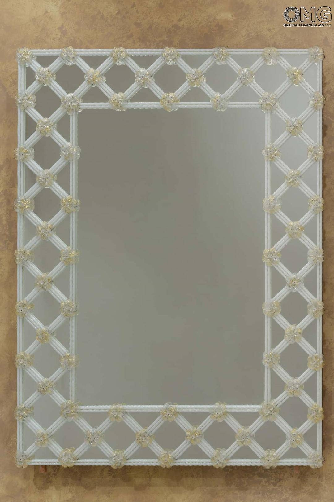 Venetian Mirrors - Engraved And With Murano Glass : Pure White And regarding Gold Venetian Mirrors (Image 24 of 25)