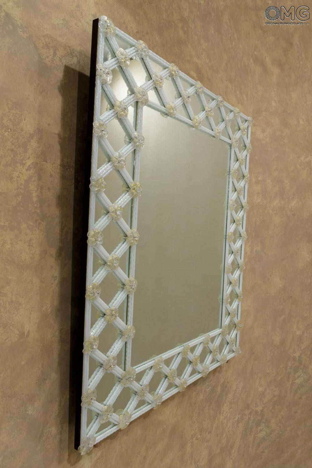 venetian mirrors engraved and with murano glass pure white and throughout gold venetian mirrors