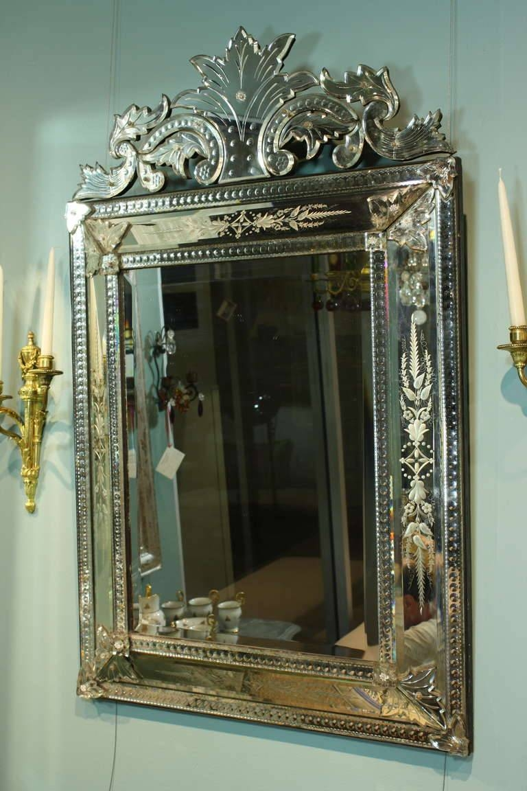 Venetian Pareclose Mirror With Bevelled Glass For Sale At 1Stdibs regarding Venetian Bevelled Mirrors (Image 23 of 25)