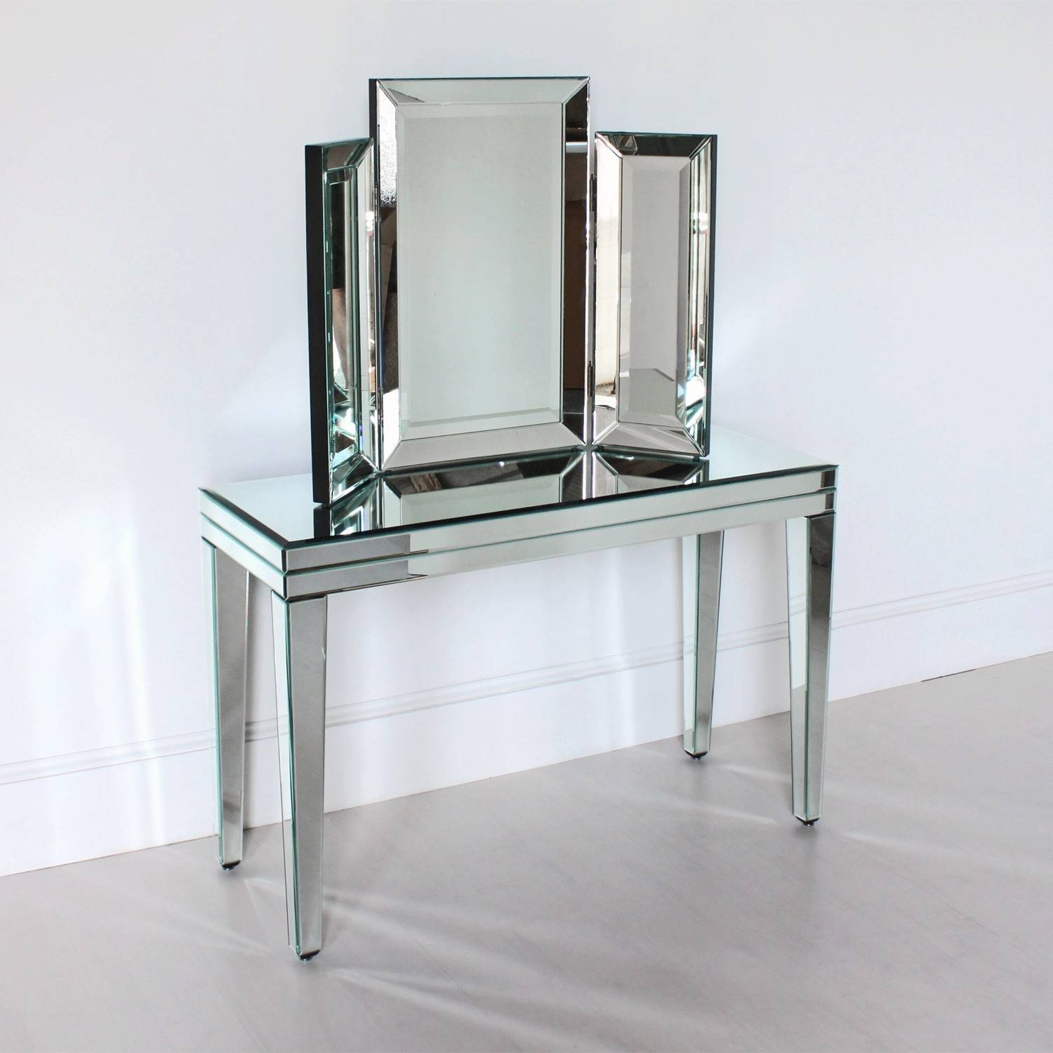 Venetian Three Fold Table Mirror intended for Venetian Table Mirrors (Image 25 of 25)
