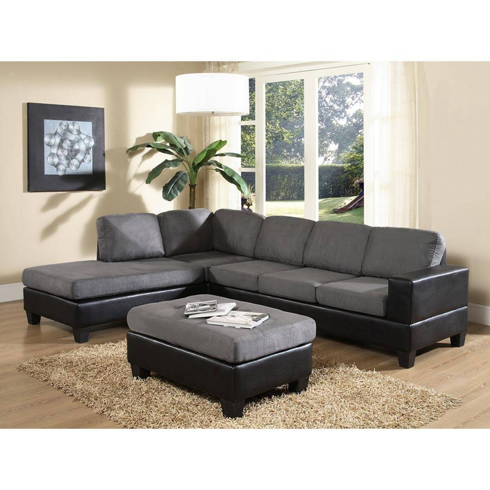 Venetian Worldwide Dallin Gray Microfiber Sectional-Mfs0003-L regarding Microsuede Sectional Sofas (Image 30 of 30)