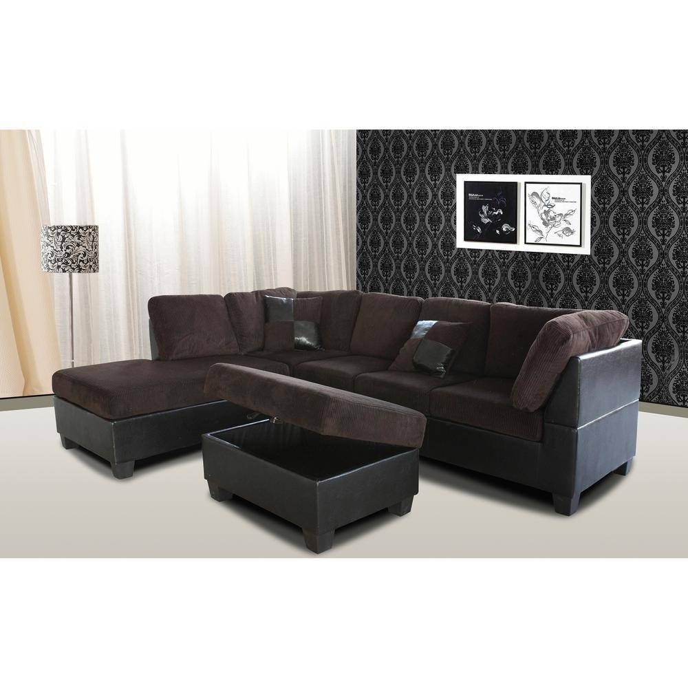 Venetian Worldwide Taylor 2-Piece Chocolate Brown Corduroy in Chocolate Brown Sectional Sofa (Image 29 of 30)