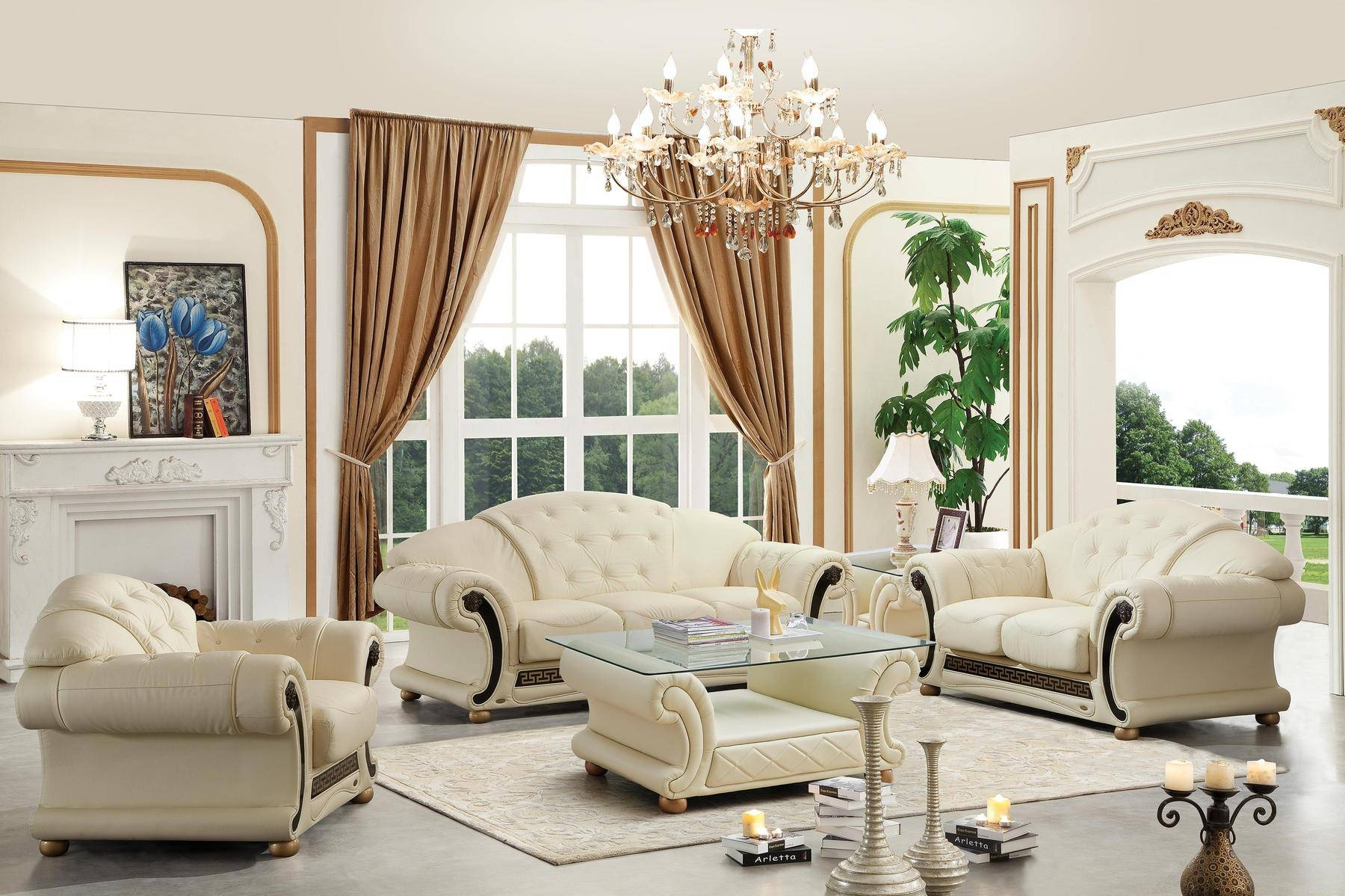 Versace Ivory Sofa Versace Esf Furniture Leather Sofas At Comfyco  Throughout Ivory Leather Sofas (Image