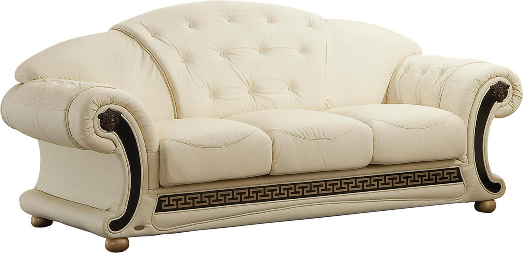 Versace Ivory Sofa Versace Esf Furniture Leather Sofas At Comfyco Within Ivory Leather Sofas (View 30 of 30)