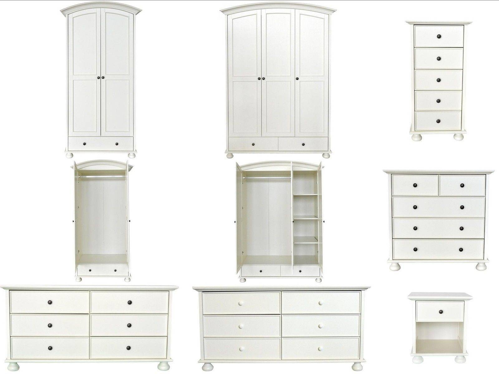 Versailles White Painted Shabby Chic Bedroom Furniture Wardrobe in White Painted Wardrobes (Image 13 of 15)