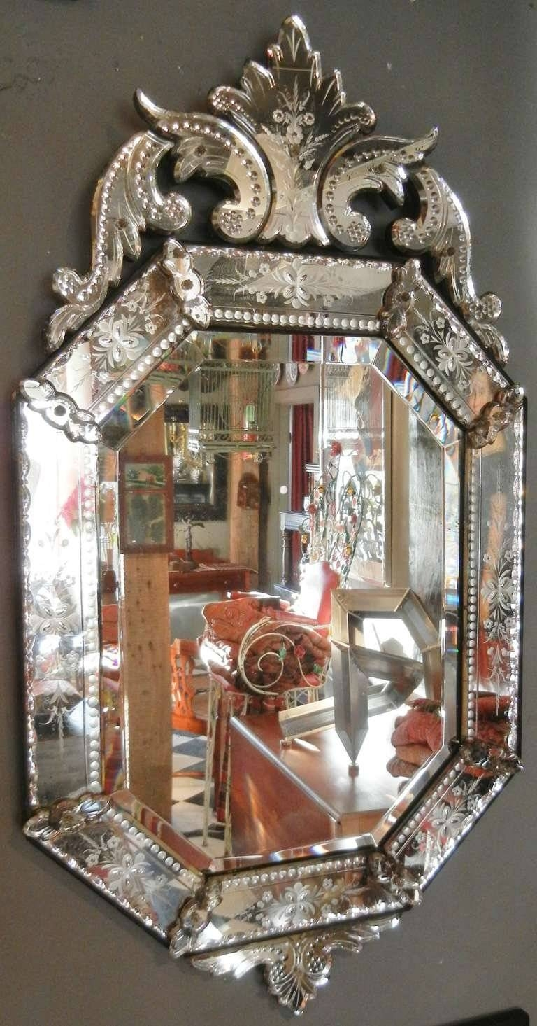 Very Fine Antique Venetian Etched-Glass Mirror In Medium Size At for Venetian Antique Mirrors (Image 25 of 25)