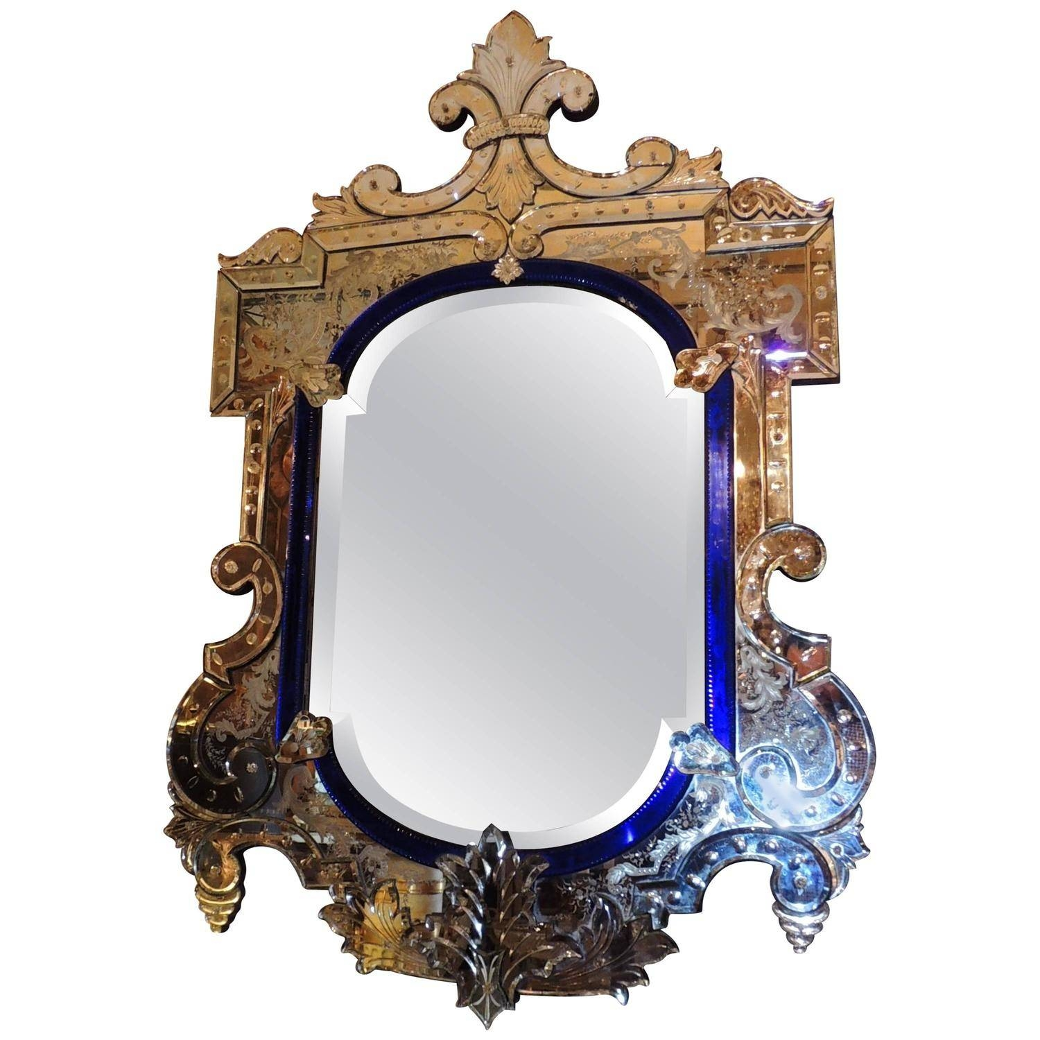 Very Fine Antique Venetian Etched-Glass Mirror In Medium Size At pertaining to Antique Venetian Glass Mirrors (Image 24 of 25)