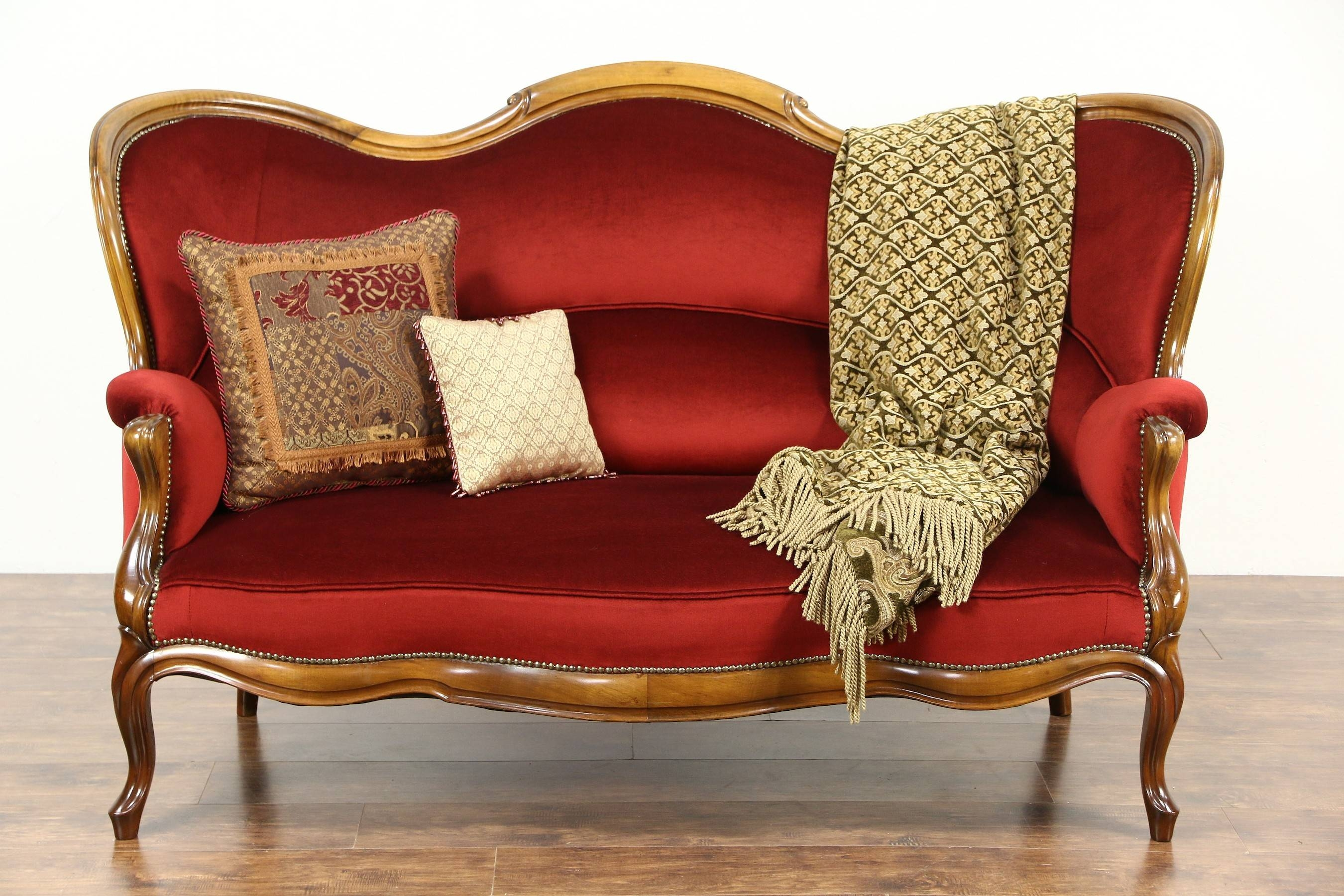 Victorian 1890's Antique Loveseat, New Red Velvet Upholstery in Antique Sofa Chairs (Image 29 of 30)