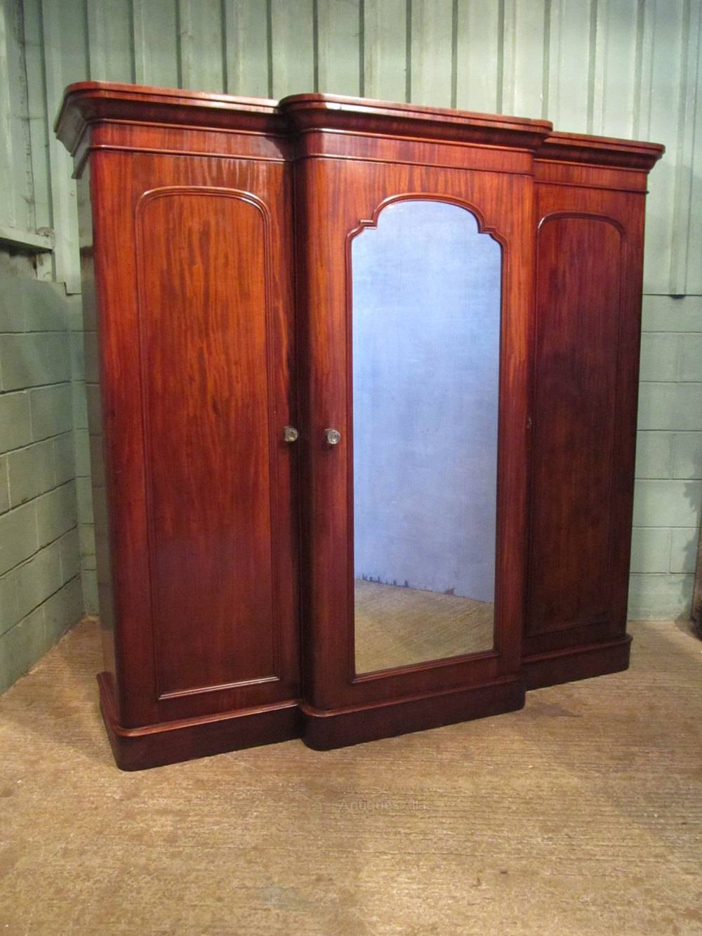 Victorian Mahogany Breakfront Triple Wardrobe - Antiques Atlas intended for Victorian Mahogany Breakfront Wardrobe (Image 11 of 30)