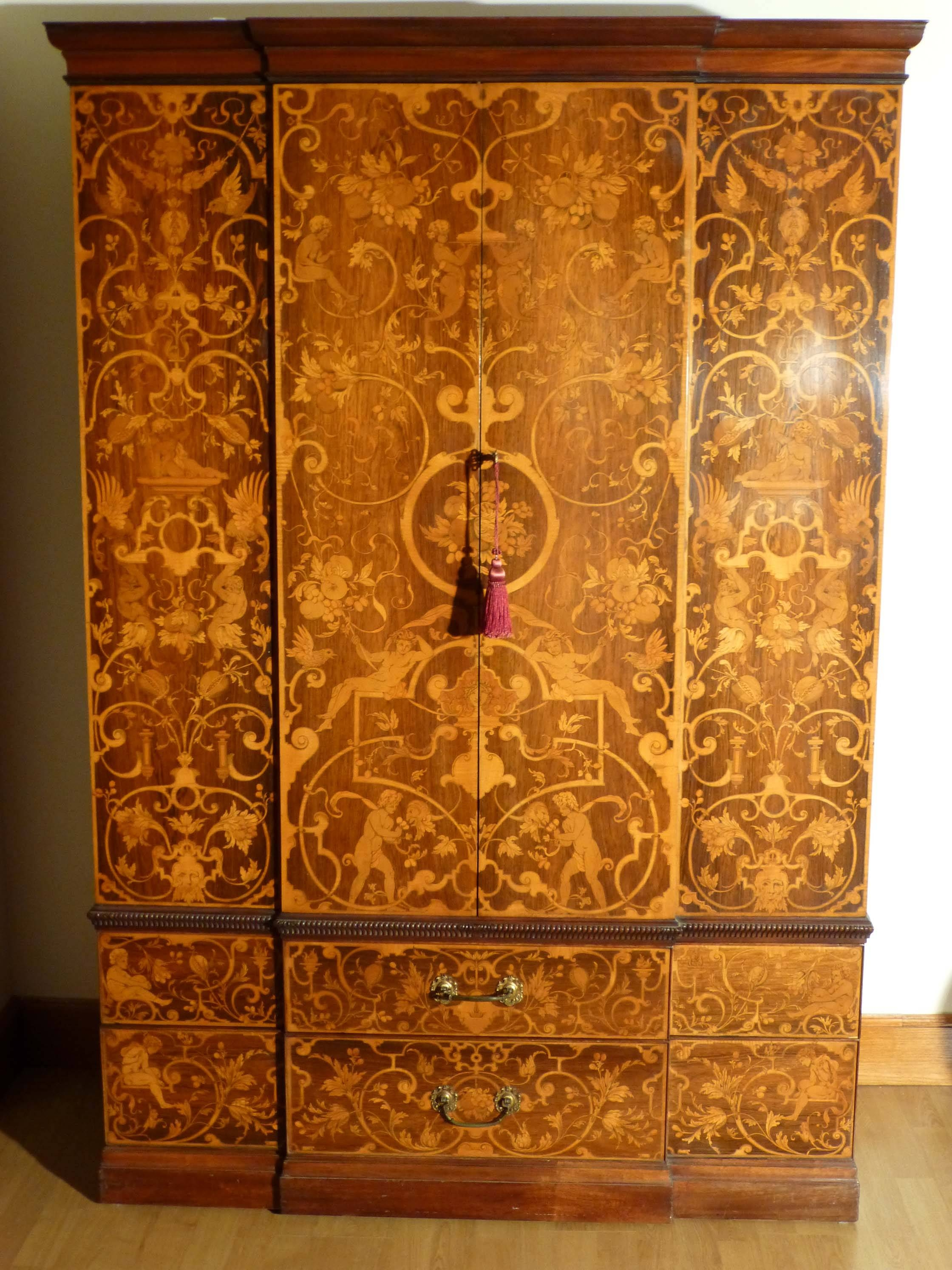 Victorian Marquetry Breakfront Wardrobe|Antique Breakfront Wardrobe with regard to Antique Breakfront Wardrobe (Image 27 of 30)