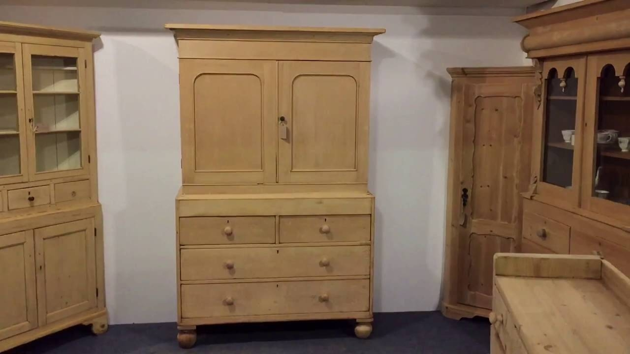 Victorian Pine Linen Press - Pinefinders Old Pine Furniture within Victorian Pine Wardrobes (Image 9 of 15)