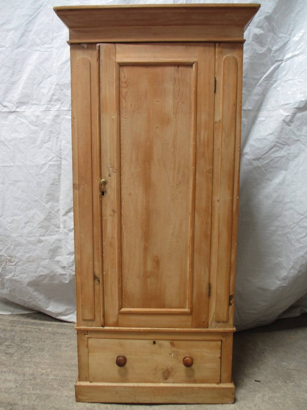 Victorian Pine Single Door Wardrobe With Drawer Under | 263126 throughout Single Pine Wardrobes (Image 15 of 15)