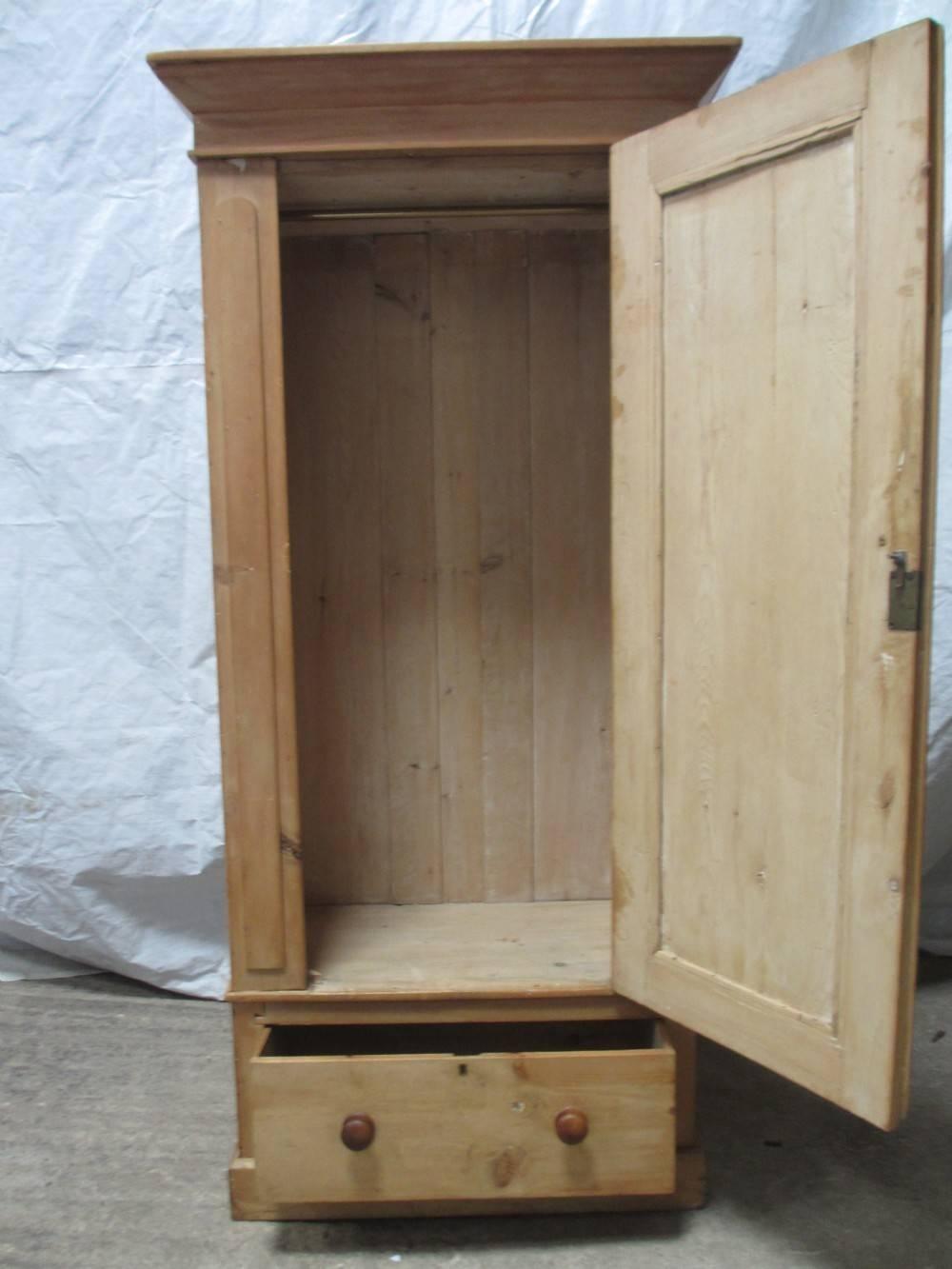 Victorian Pine Single Door Wardrobe With Drawer Under | 263126 with Victorian Pine Wardrobes (Image 11 of 15)