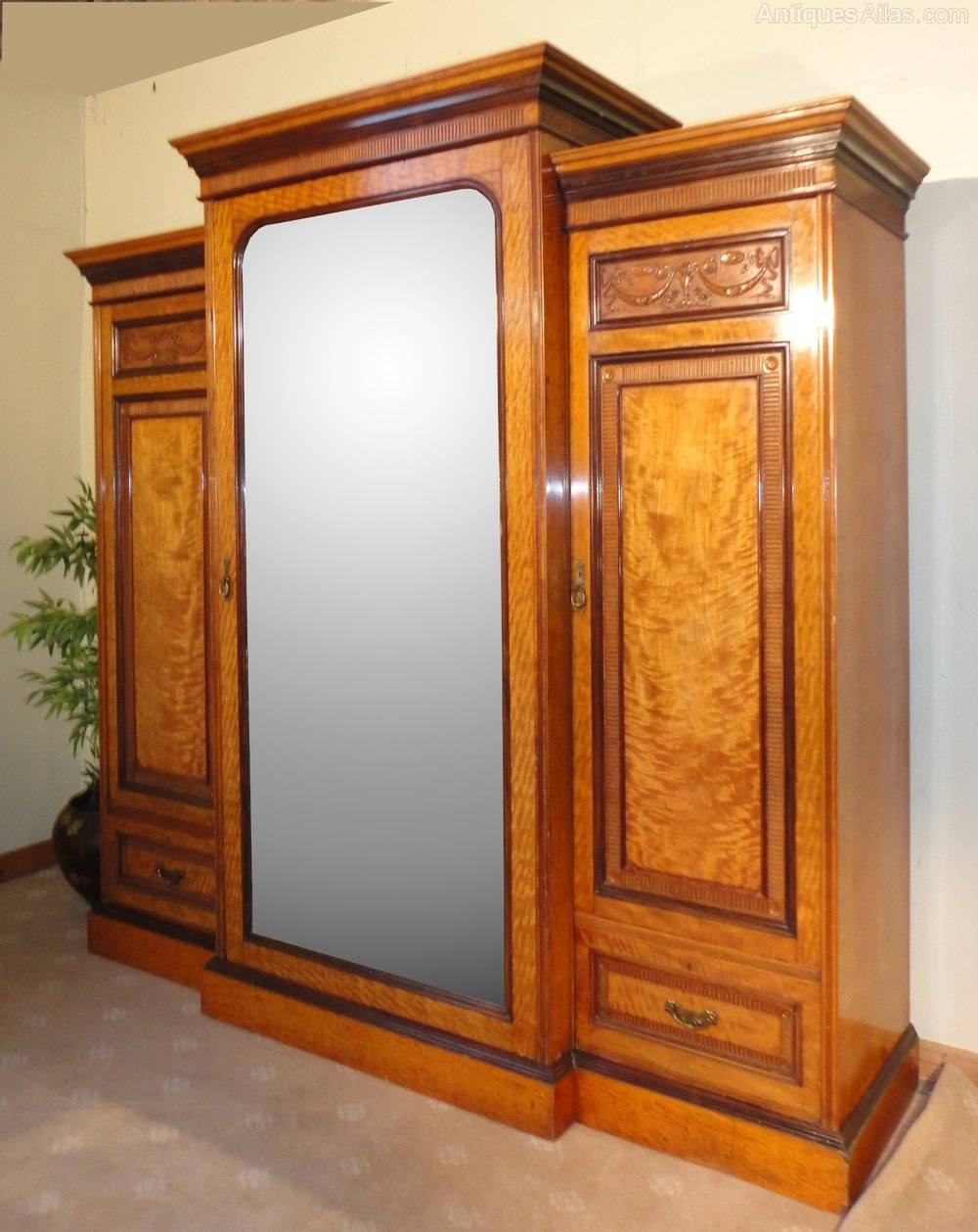 Victorian Satinwood & Rosewood Breakfront Wardrobe - Antiques Atlas with regard to Antique Breakfront Wardrobe (Image 28 of 30)