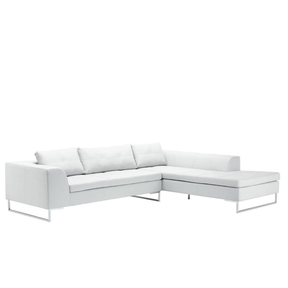 Vienna Leather Right Hand Corner Sofa White - Dwell inside White Leather Corner Sofa (Image 24 of 30)