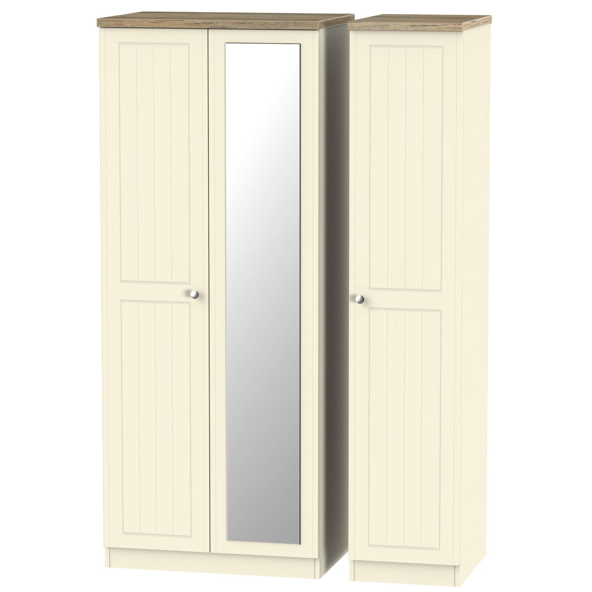 Vienna Tall Triple Mirror Wardrobe | Assembled Bedroom Furniture for Triple Mirrored Wardrobes (Image 9 of 15)
