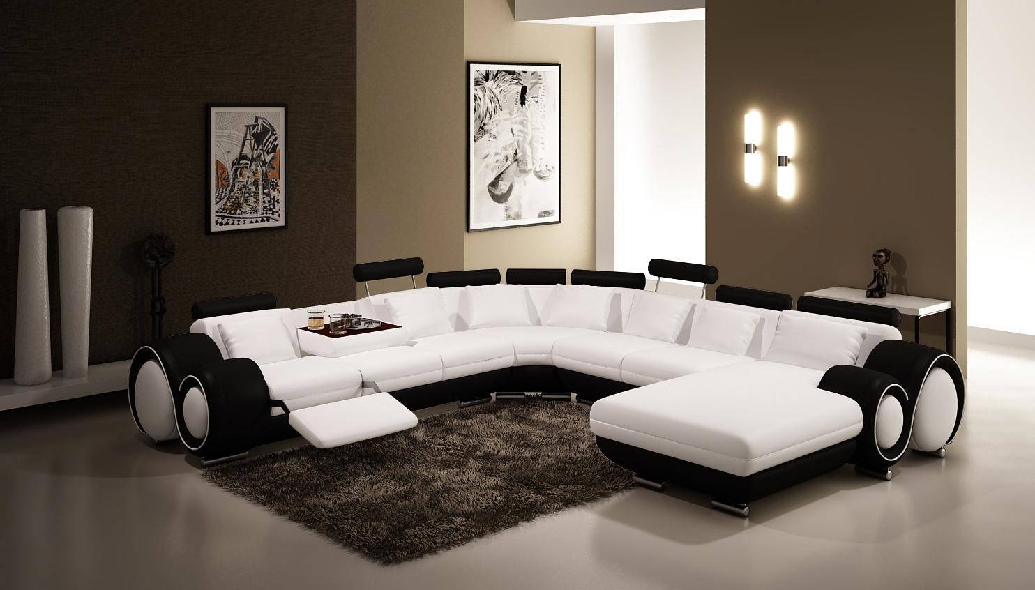 Vig Furniture 4084 Contemporary Black And White Leather Sectional Sofa Intended For Black And White Sectional Sofa (View 2 of 30)