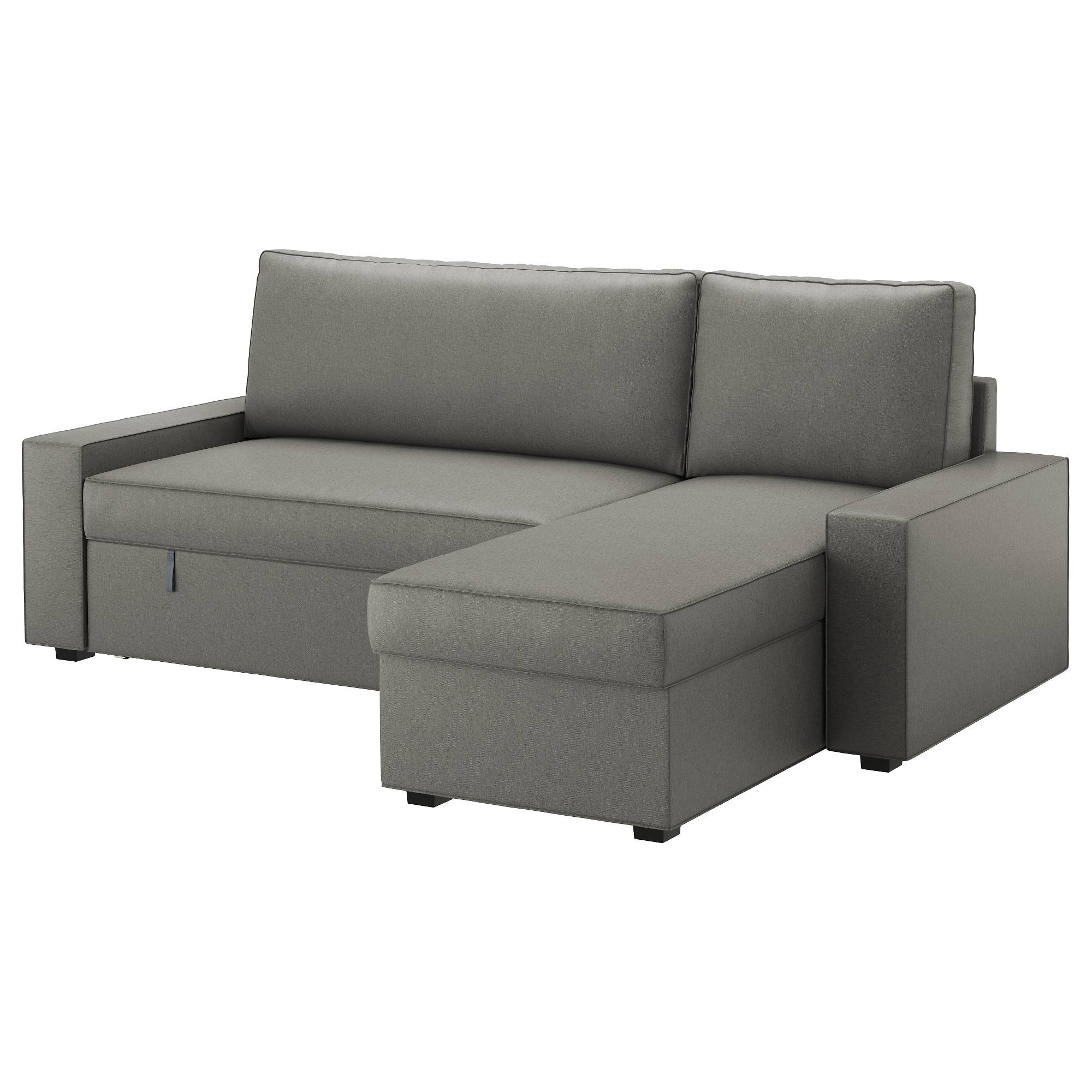 Vilasund Sofa Bed With Chaise Longue Borred Grey-Green - Ikea pertaining to Ikea Chaise Lounge Sofa (Image 30 of 30)