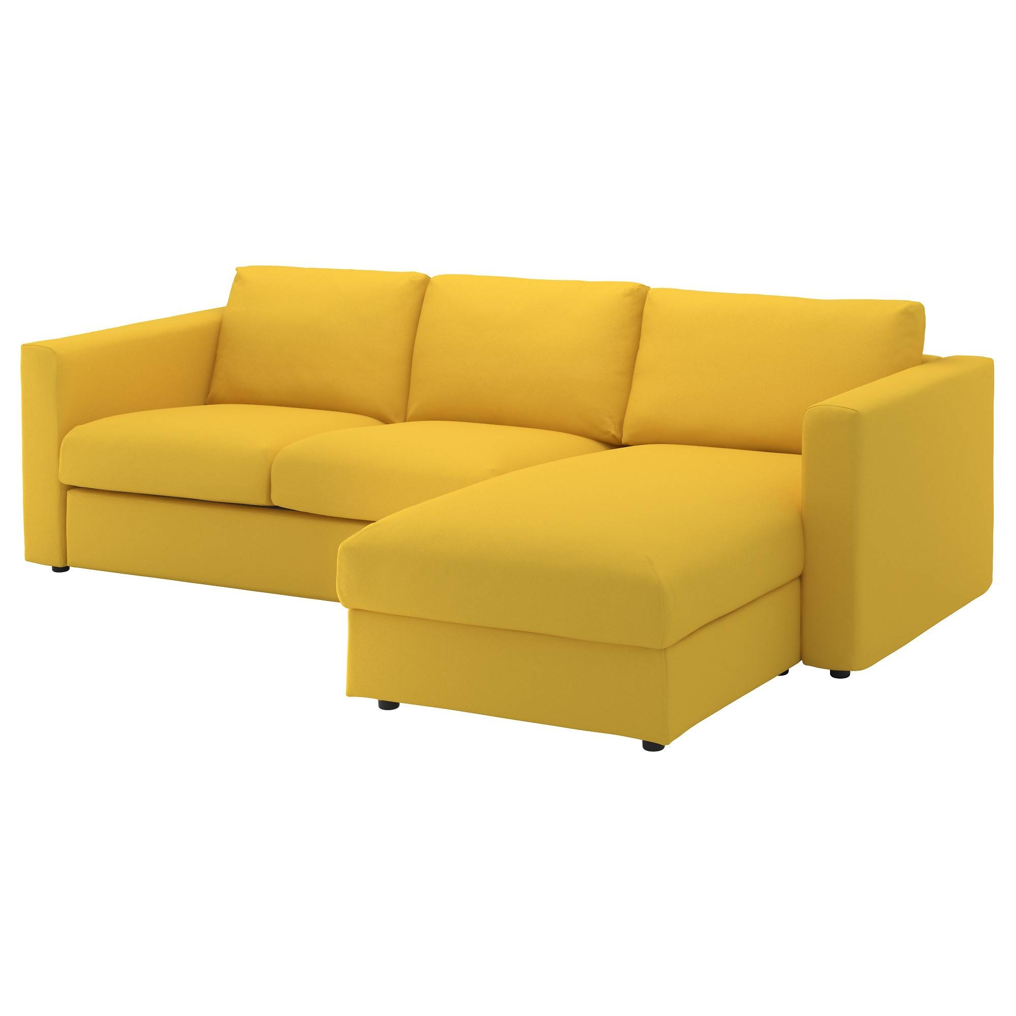Vimle 3-Seat Sofa With Chaise Longue/gräsbo Golden-Yellow - Ikea for Orange Ikea Sofas (Image 28 of 30)