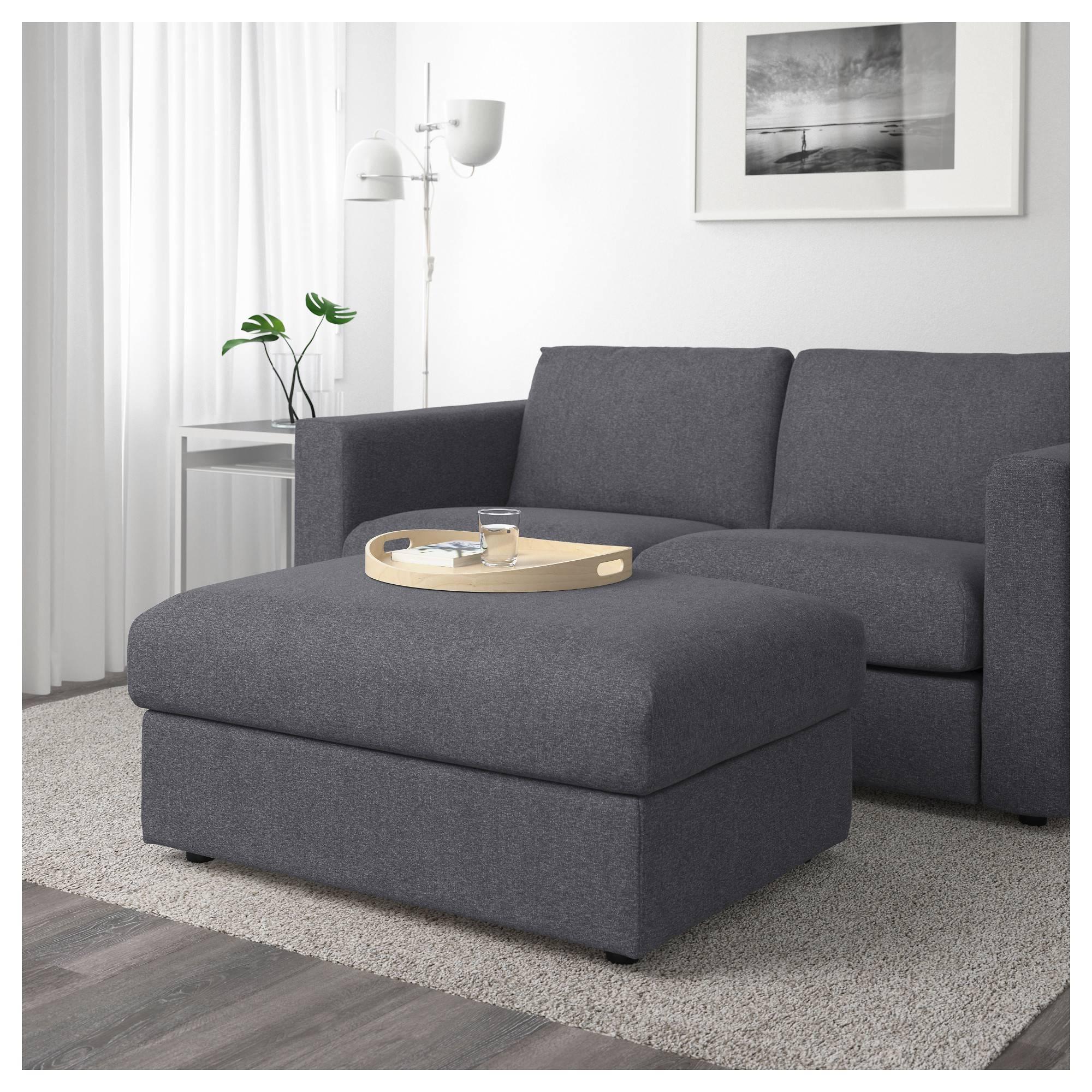Vimle Footstool With Storage Gunnared Medium Grey - Ikea inside Storage Sofas Ikea (Image 23 of 25)