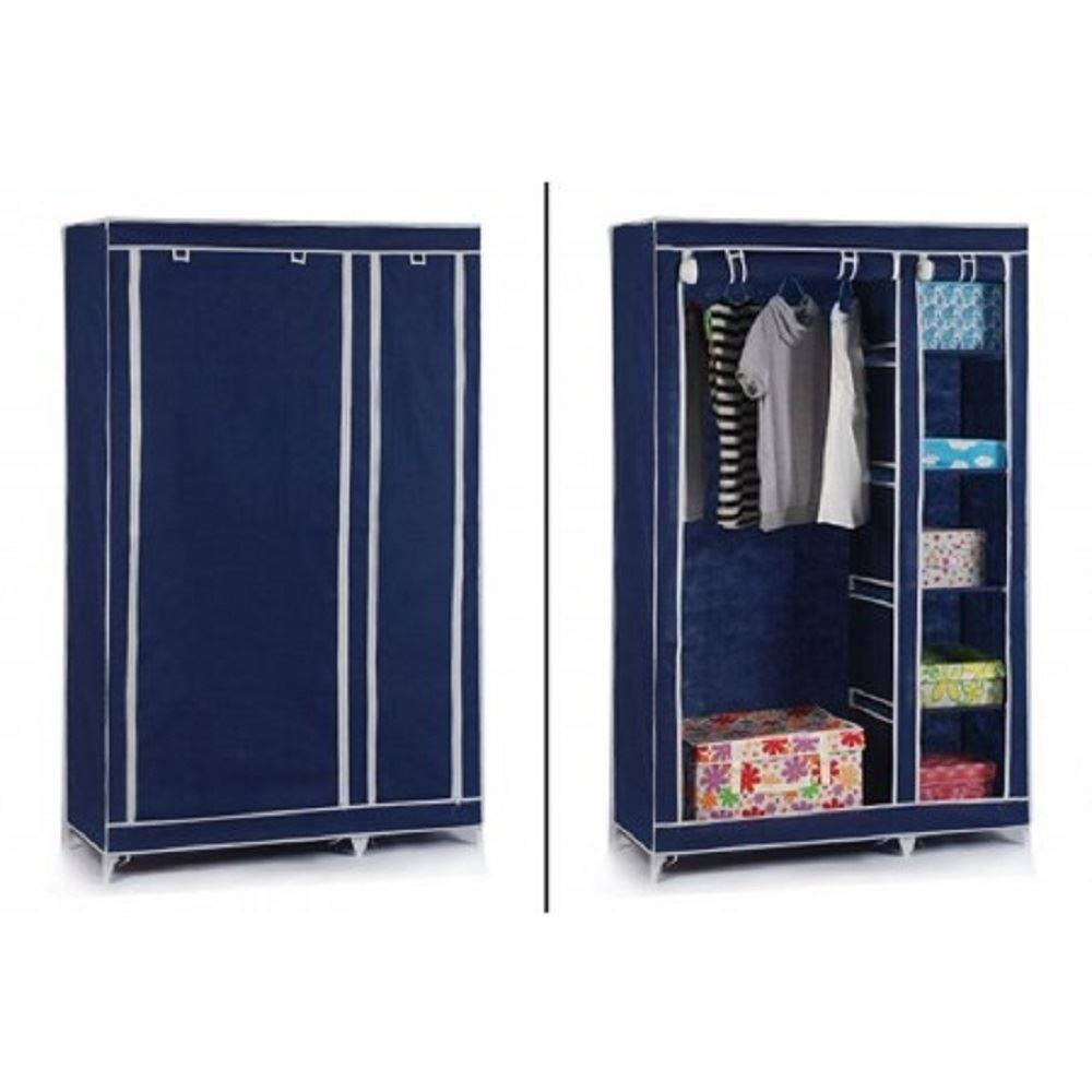 Vinsani Double Canvas Wardrobe Clothes Cupboard Storage W110Cm X intended for Double Canvas Wardrobe Rail Clothes Storage Cupboard (Image 23 of 30)
