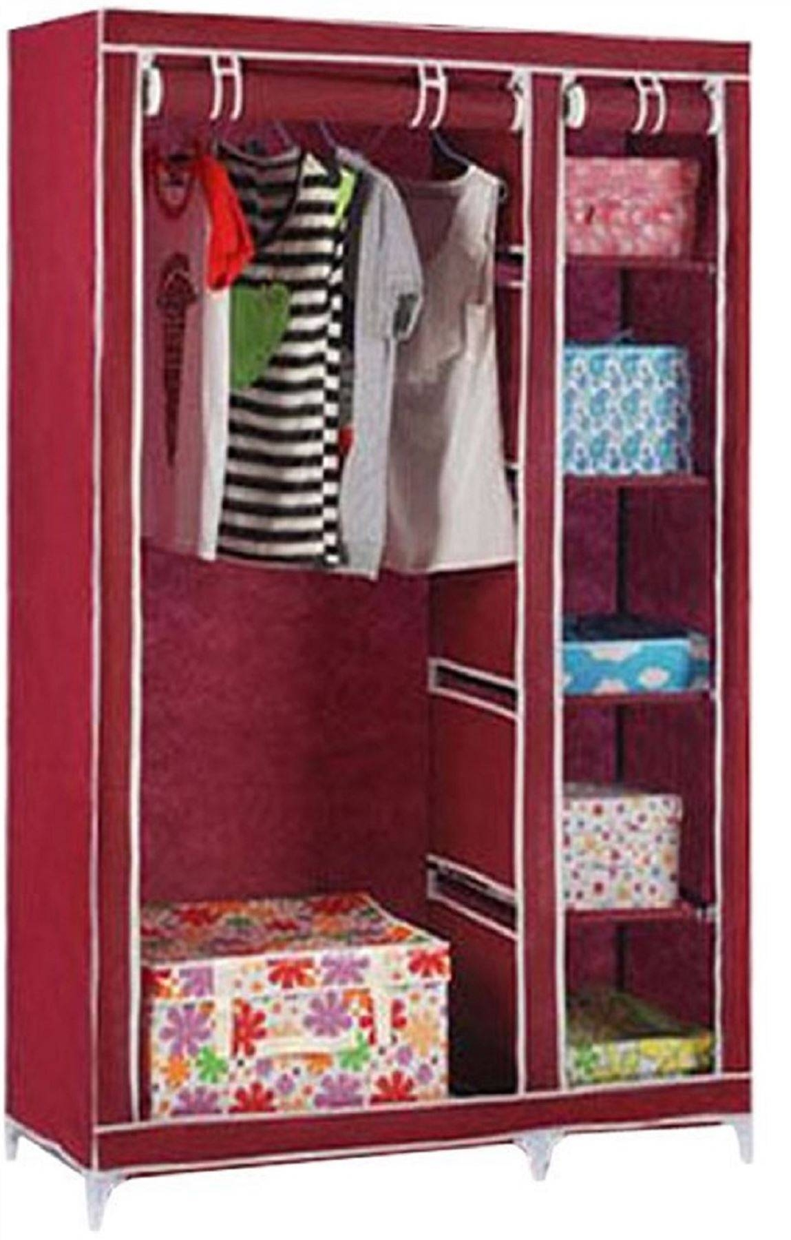 Vinsani Double Canvas Wardrobe Clothes Cupboard Storage W110Cm X intended for Double Canvas Wardrobe Rail Clothes Storage Cupboard (Image 22 of 30)