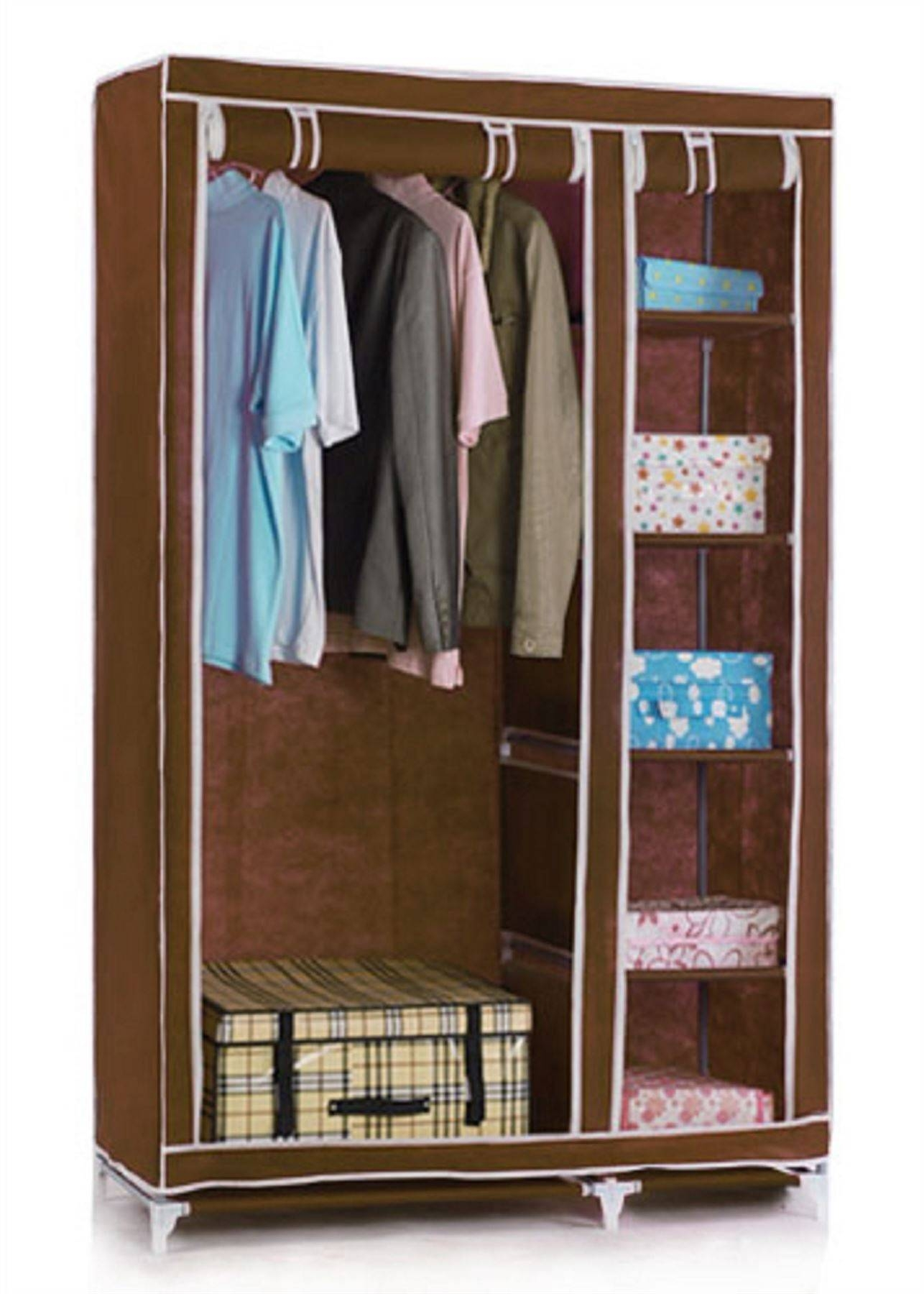 Vinsani Double Canvas Wardrobe Clothes Cupboard Storage W110Cm X with regard to Double Canvas Wardrobes Rail Clothes Storage (Image 24 of 30)