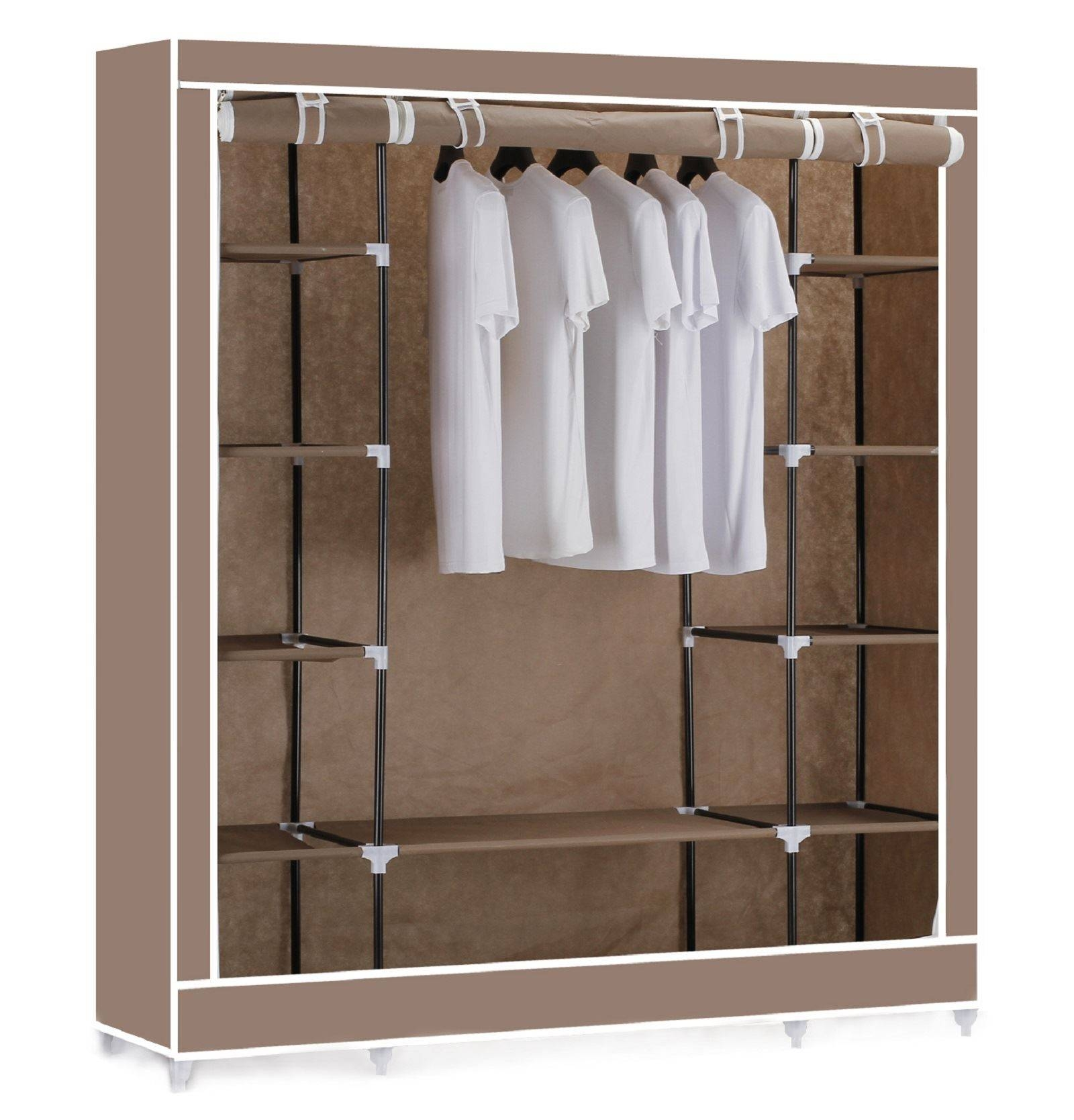 Vinsani Triple Canvas Clothes Wardrobe Hanging Rail With Storage within Double Rail Canvas Wardrobes (Image 23 of 30)