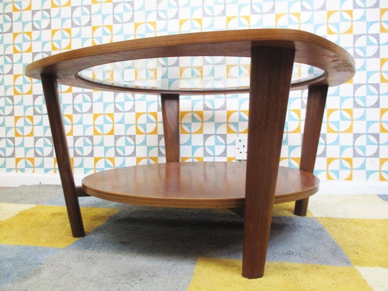 Vintage 1960's Round Teak & Glass Coffee Table Mid Century Retro In Retro Teak Glass Coffee Tables (View 18 of 30)