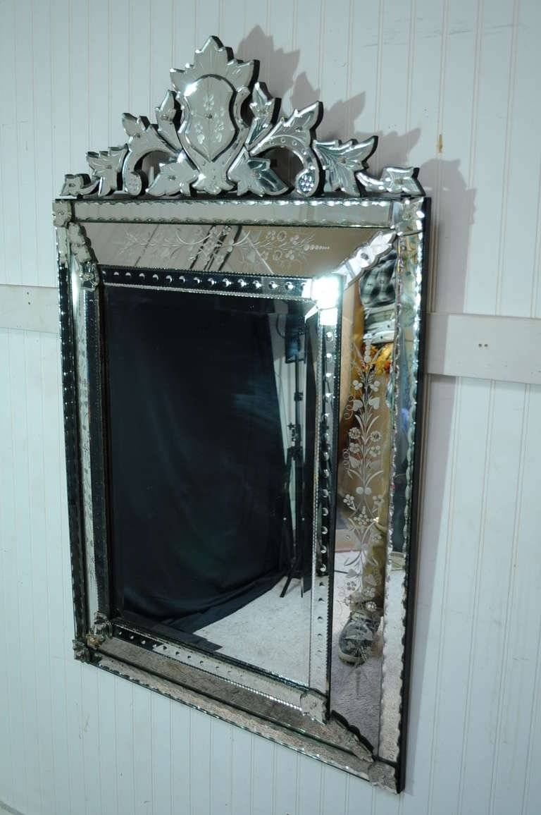 Vintage 20Th Century French Venetian Style Etched Glass Wall intended for Venetian Style Wall Mirrors (Image 25 of 25)