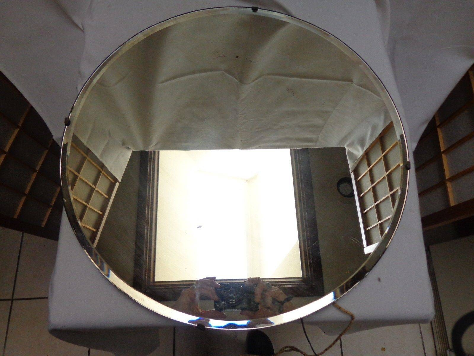 Vintage Art Deco Round Beveled Glass Mirror 18 Across Frameless regarding Original Art Deco Mirrors (Image 22 of 25)