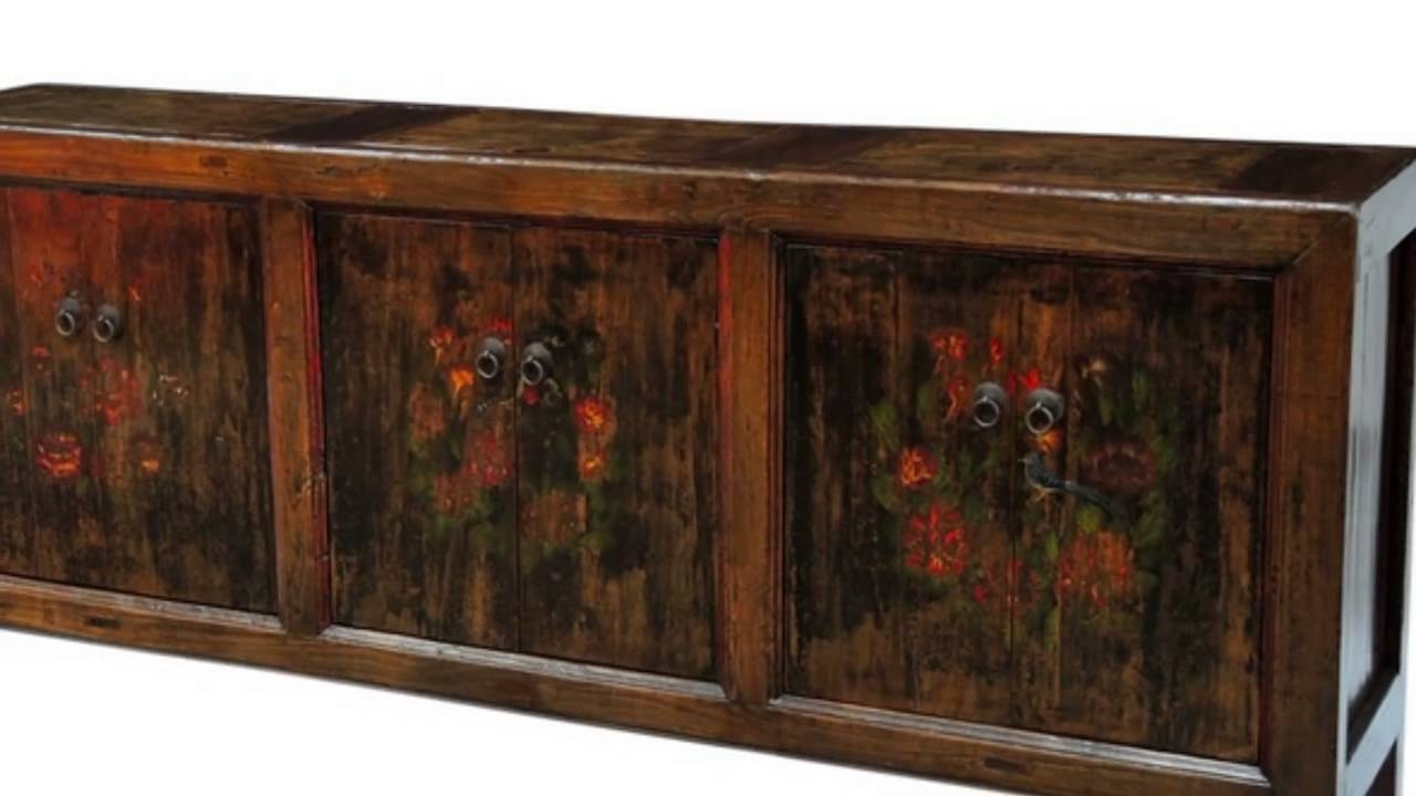 Vintage Asian Hand-Carved, Painted, Wooden Sideboards - Youtube pertaining to Asian Sideboards (Image 26 of 30)
