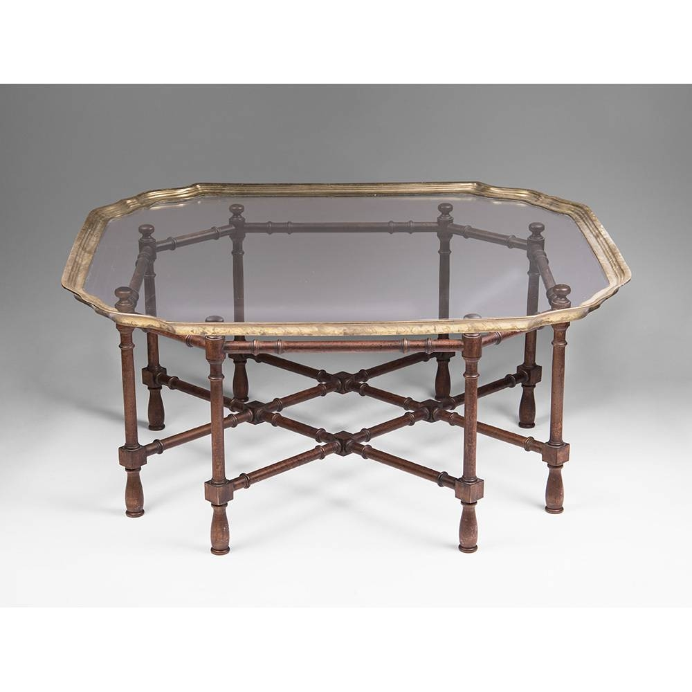 Vintage Baker Glass And Brass Coffee Table | Coffee Tables Decoration pertaining to Vintage Glass Coffee Tables (Image 15 of 30)