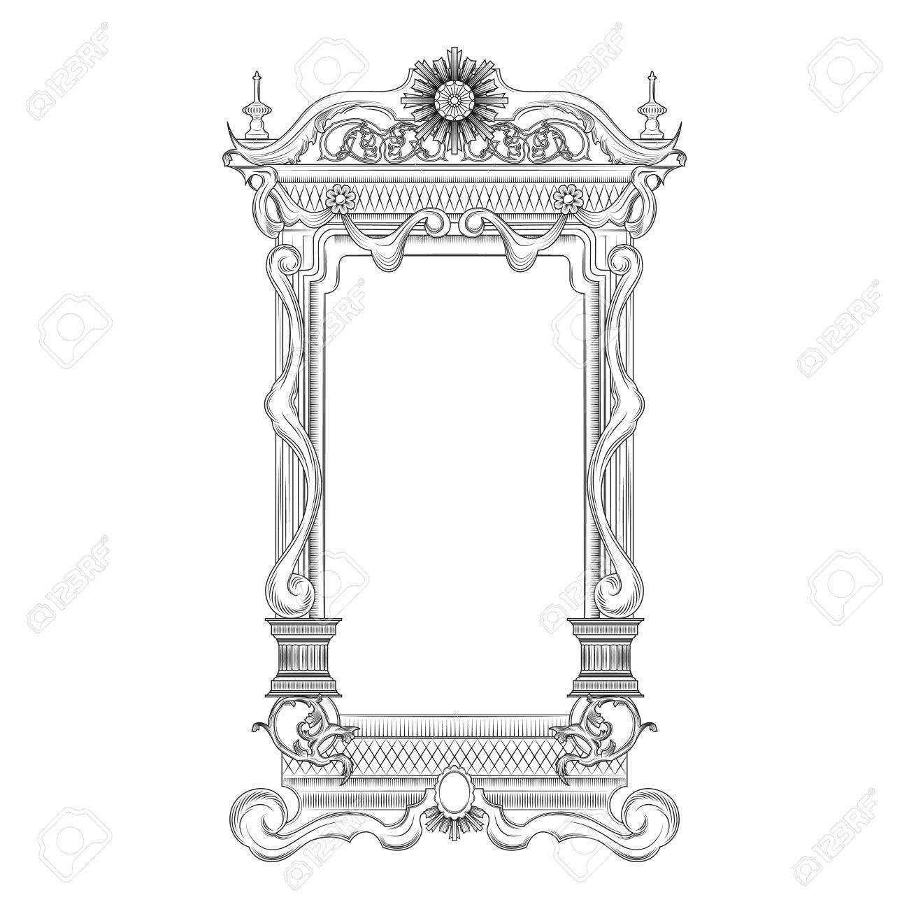 Vintage Baroque Style Mirror Frame Royalty Free Cliparts, Vectors regarding Baroque Style Mirrors (Image 22 of 25)
