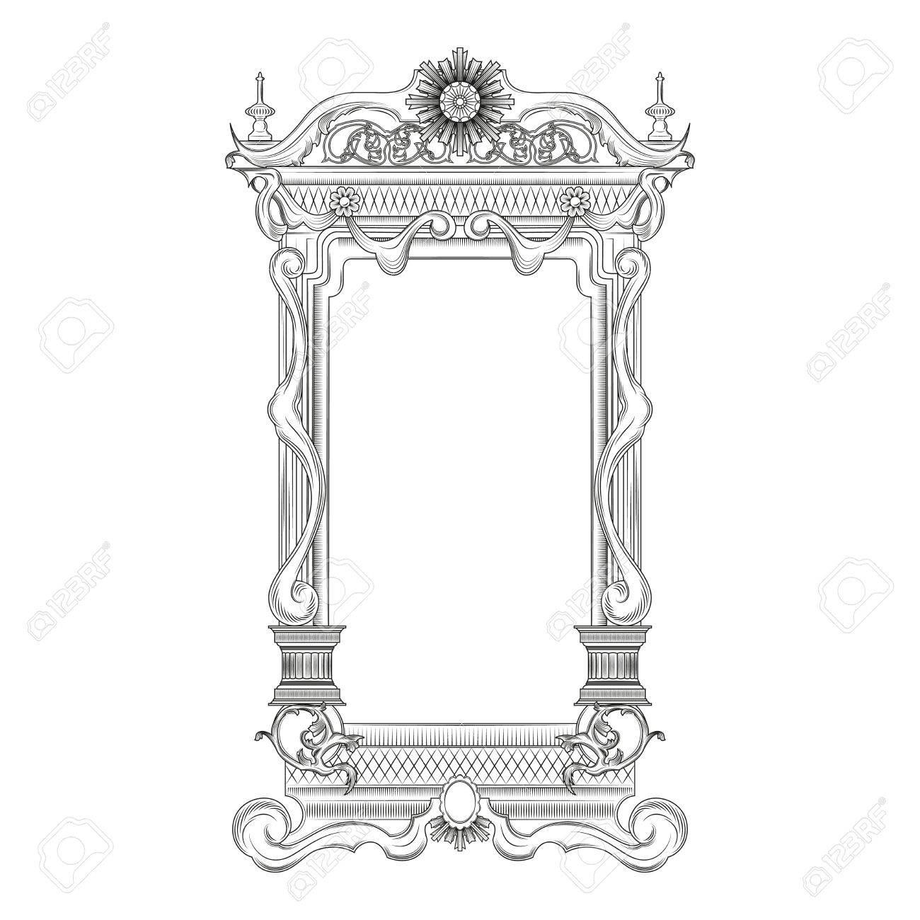 Vintage Baroque Style Mirror Frame Royalty Free Cliparts, Vectors Regarding Baroque Style Mirrors (View 22 of 25)