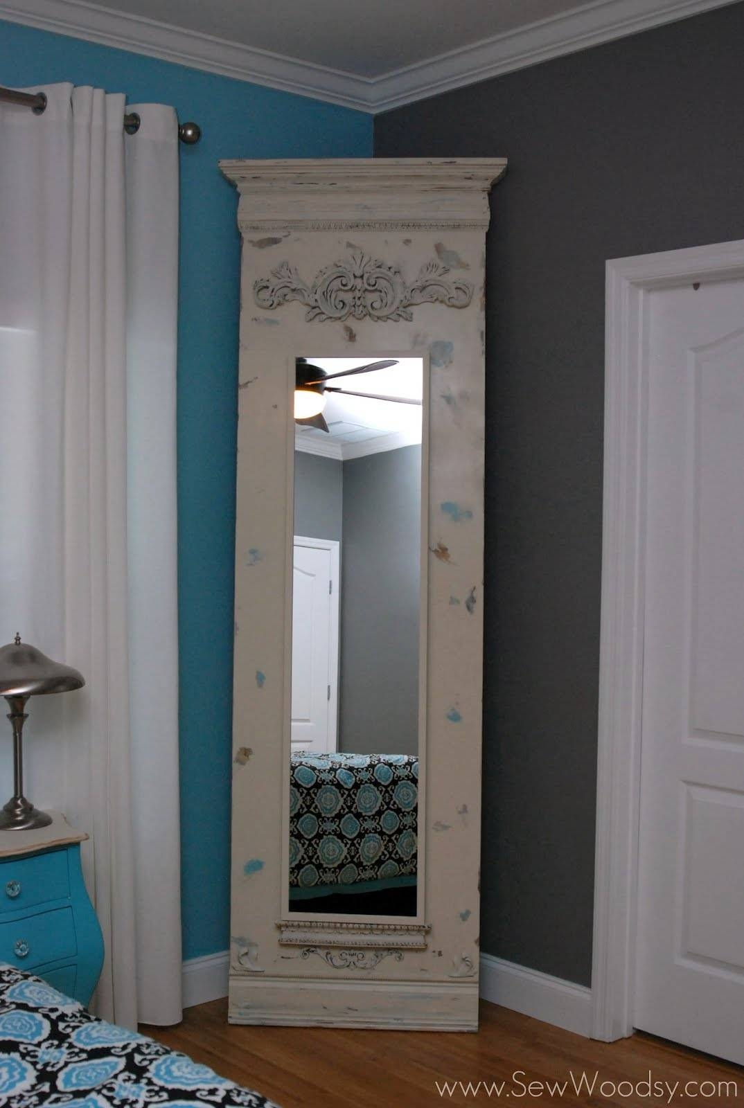 Vintage Bedroom With Trumeau Floor Mirror Ikea Stave Mirror, And within Chrome Floor Mirrors (Image 23 of 25)
