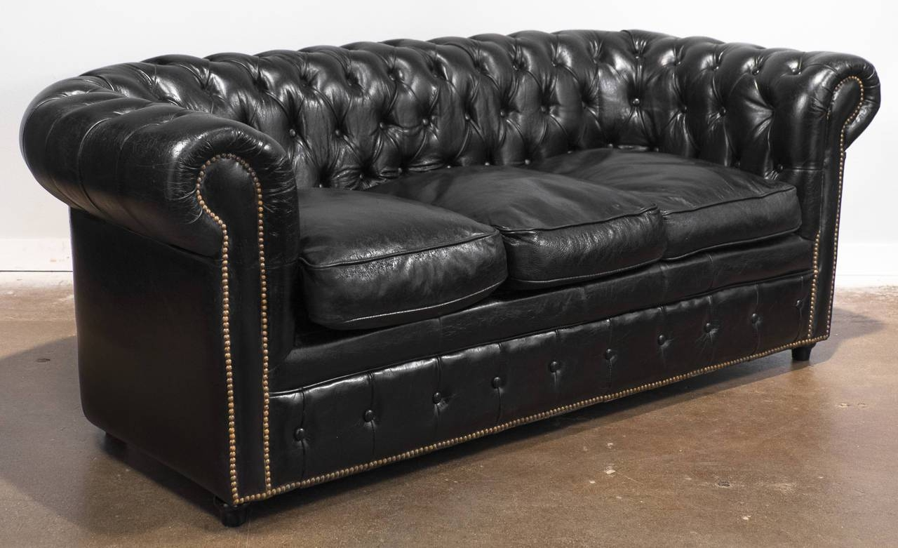 Vintage Black Leather Chesterfield Sofa At 1Stdibs intended for Leather Chesterfield Sofas (Image 26 of 30)