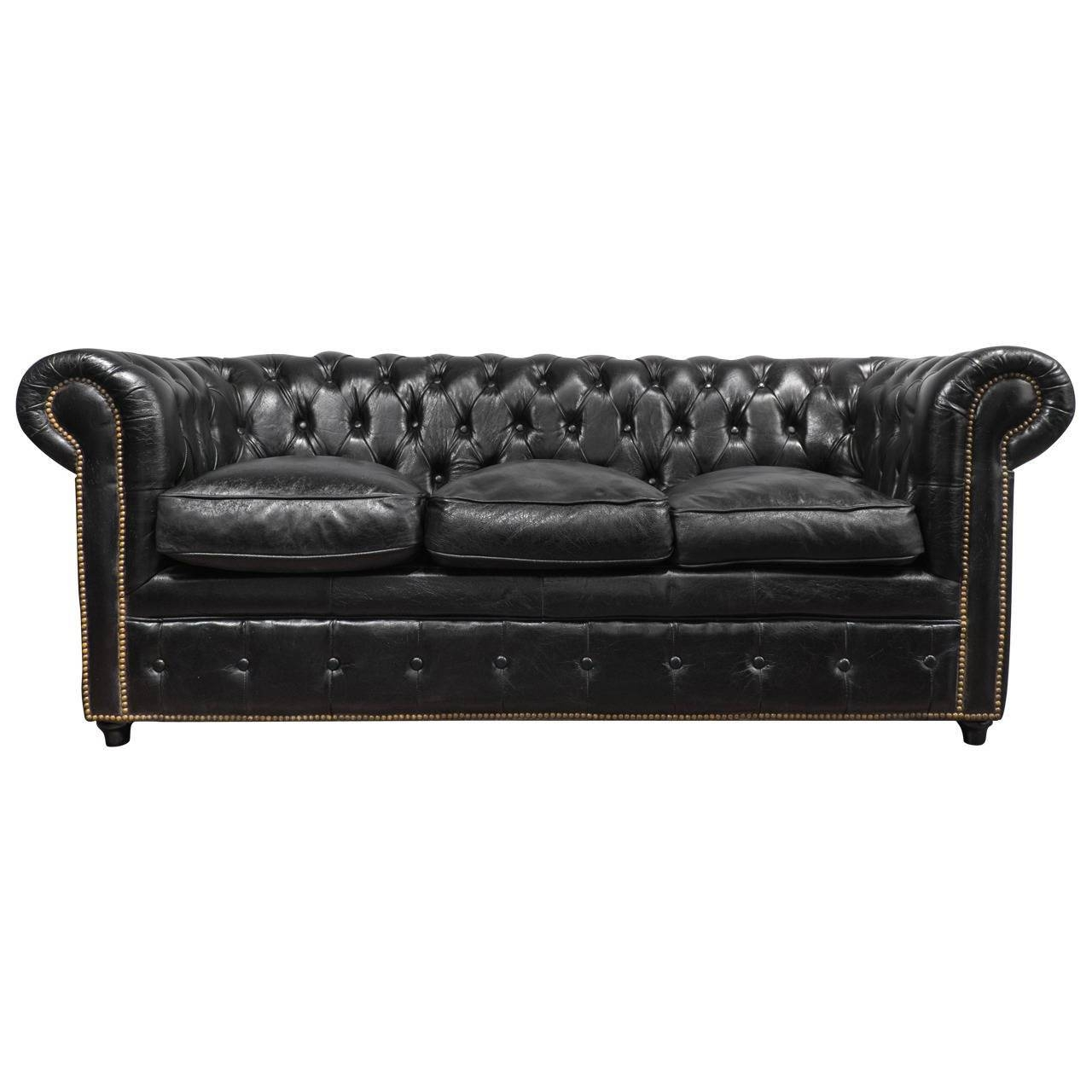 Vintage Black Leather Chesterfield Sofa At 1Stdibs within Chesterfield Black Sofas (Image 27 of 30)