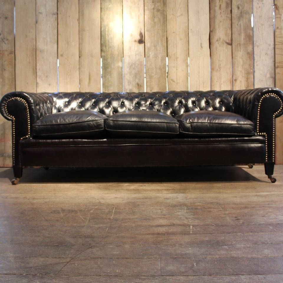 Vintage Black Leather Chesterfield Sofa For Sale At Pamono for Chesterfield Black Sofas (Image 28 of 30)