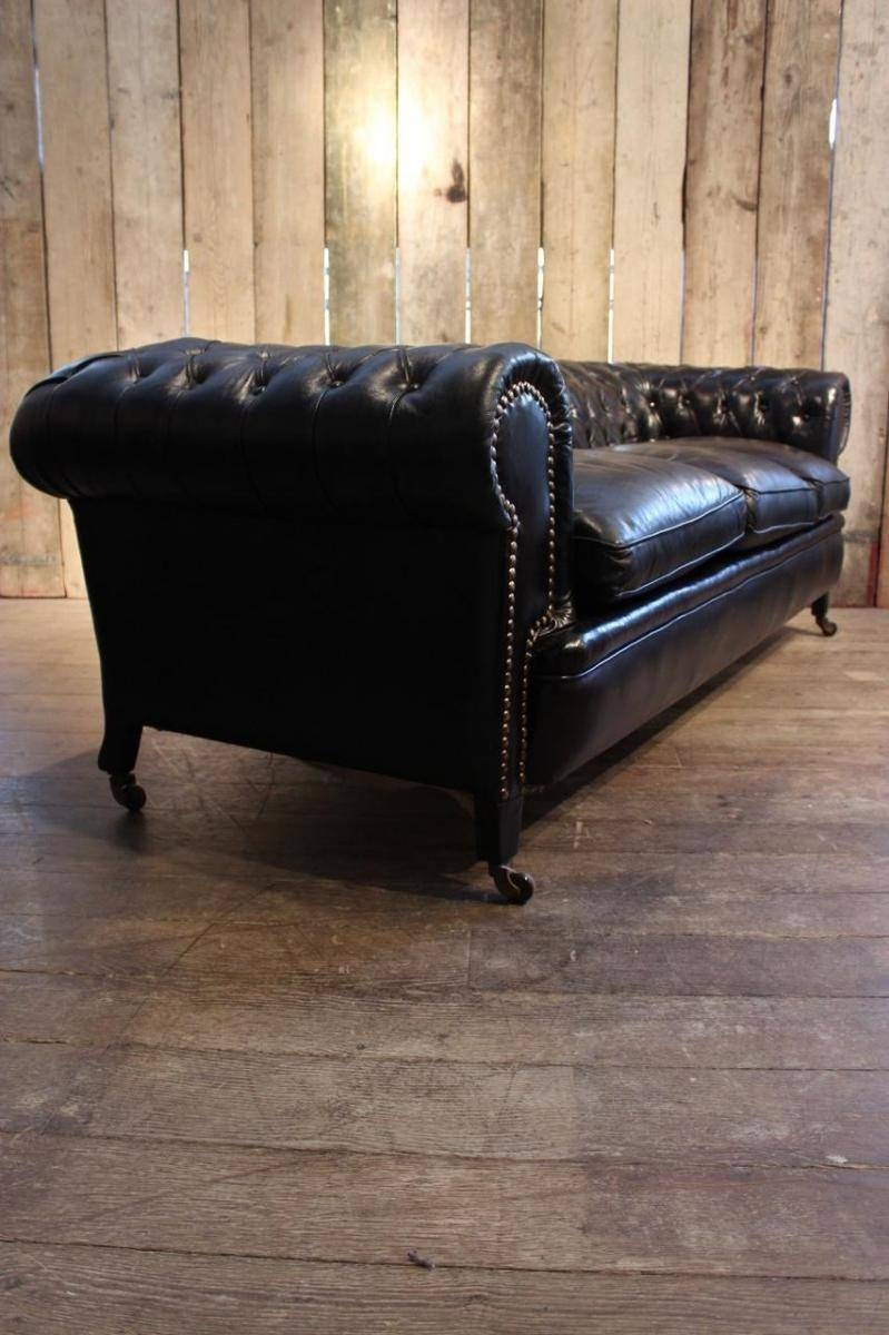 Vintage Black Leather Chesterfield Sofa For Sale At Pamono pertaining to Vintage Chesterfield Sofas (Image 18 of 30)