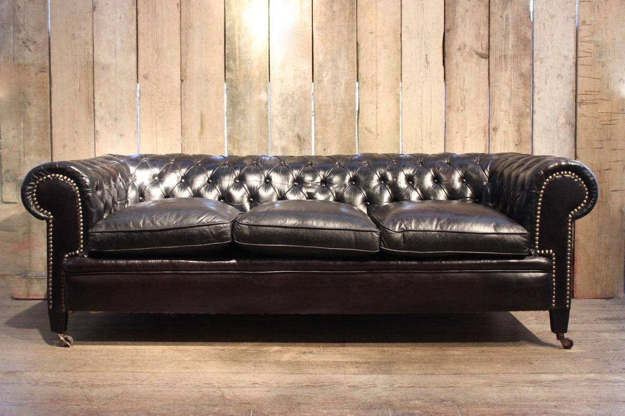 Vintage Black Leather Chesterfield Sofa For Sale At Pamono regarding Chesterfield Black Sofas (Image 29 of 30)