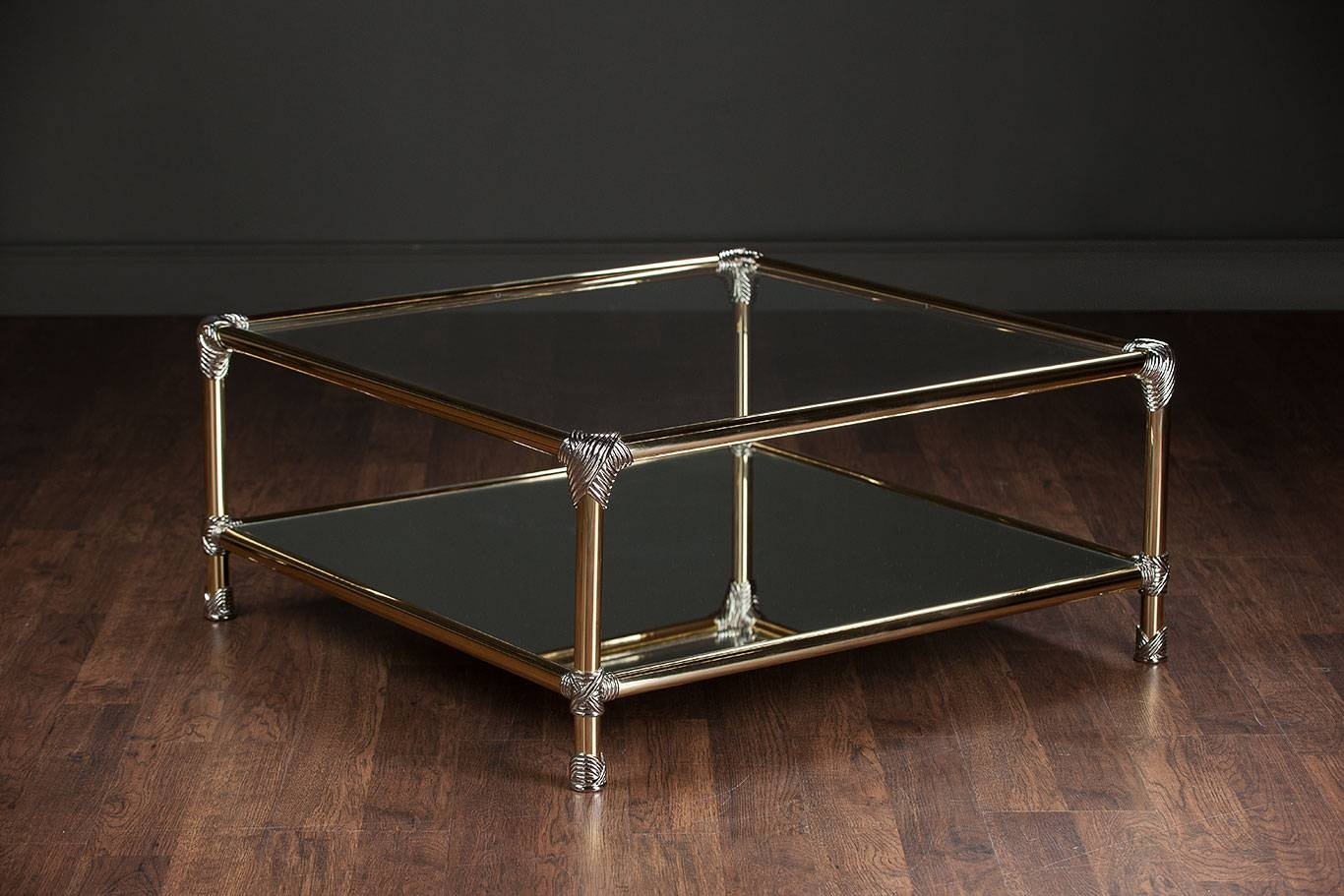 Vintage Brass And Chrome Coffee Table - Mecox Gardens for Antique Brass Glass Coffee Tables (Image 33 of 37)