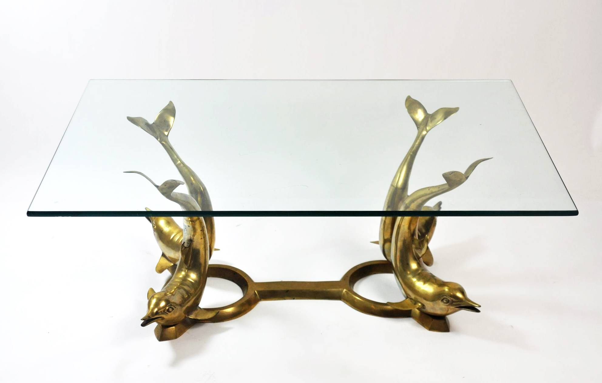 Vintage Brass Dolphin Base Coffee Table Mecox Gardens With Antique Brass  Glass Coffee Tables (Photo