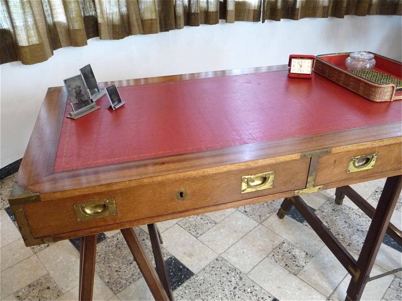 Vintage British Campaign Desk In Mahogany And Leather For Sale At pertaining to Campaign Coffee Tables (Image 30 of 30)
