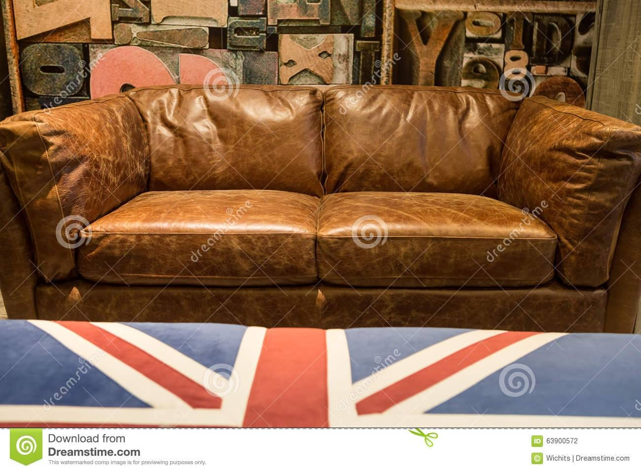 Vintage Brown Leather Sofa Stock Photo - Image: 63900572 throughout Vintage Leather Sofa Beds (Image 20 of 30)